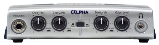Interfaz de audio USB con 2 entradas, 1 micrófono y 1 instrumento, 2 salidas TRS y RCA, 24-bit/48kHz, alimentación de energía vía USB - Mac/PC.