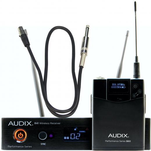Bodypack B60 con cable plug 1/4 para guitarra/bajo y receptor inalámbrico R41, banda A (522-554 MHz) o B (554-586 MHz).