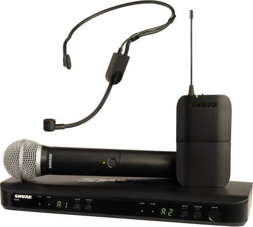 Sistema Doble Combinado Inalámbrico, incluye receptor de dos canales BLX88, transmisor de cuerpo BLX1, transmisor de mano BLX2/PG58, micrófono con auriculares PGA31