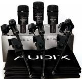 Pack de 3 micrófonos dinámicos hipercardioides para toms u otros, con clamps DVice y fundas. 144dB SPL, 80Hz - 18kHz, hecho en USA.