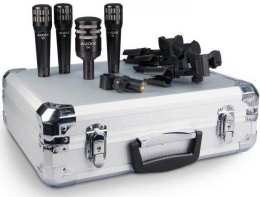 Kit de 4 micrófonos dinámicos cardioides para batería, con 3 clamps, clip, y maleta de aluminio. Incluye 1 D6 (bombo) y 3 i5 (caja/toms). Hecho en USA.