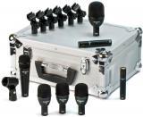 Kit de 7 micrófonos dinámicos hiper/cardioides para batería, con clips y maleta de aluminio. Incluye 1 f5 (caja), 3 f2 (toms), 1 f6 (bombo) y 2 f9 (overs). Hecho en USA.