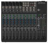 Mezclador analogo de 14 canales con 6 preamps de micrófono Onyx, 4 canales estéreo, 2 envíos auxiliares por canal y 6 inserts
