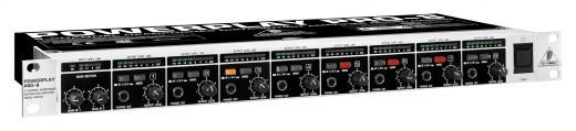 Amplificador de mezcla / distribución de auriculares estéreo de 8 canales con medidor de nivel en cada canal y dos entradas principales estéreo