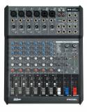 posibilidad de conectar hasta 6 micrófonos, filtro LO-CUT en los canales mono, 45 mm de faders para controlar todos los principales niveles