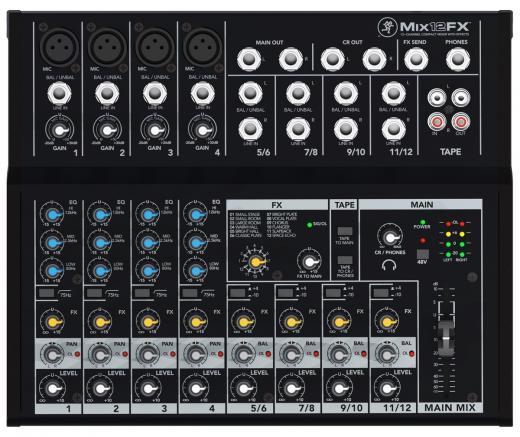 Mezclador 12 entradas con 4 preamps de micrófono, 4 canales estéreo, eq de 3 bandas, E / S de cinta, 12 efectos incorporados