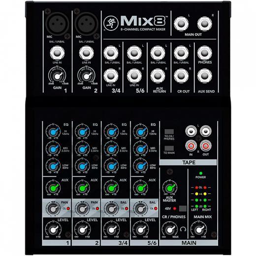 Mezclador de 6 entradas con 2 preamps de micrófono, 2 canales estéreo, eq de 3 bandas, 1 Aux, E / S de cinta y volumen y niveles de fonos separado