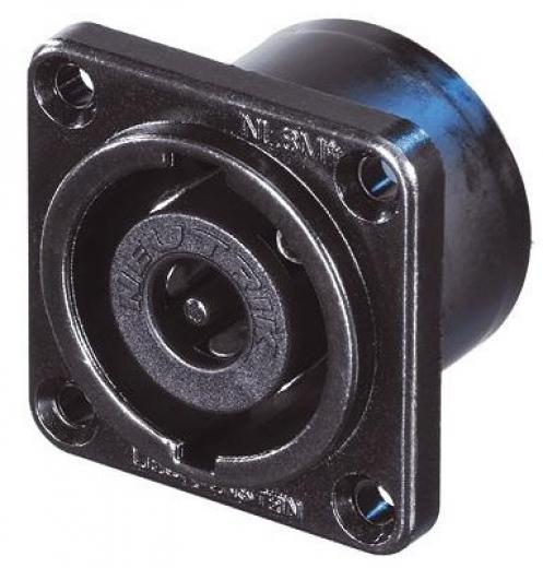 """Conector de chasis de 8 polos, brida cuadrada tamaño G de metal negro cromado, agujeros avellanados a través, pestañas planas de 3/16 """""""