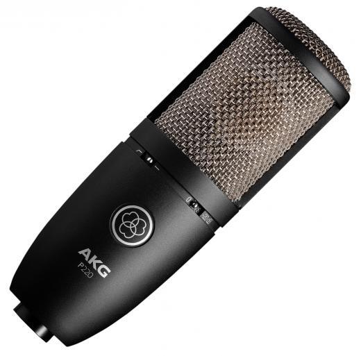 Micrófono de condensador de diafragma grande con patrón polar cardioide, respuesta de frecuencia 20Hz-20kHz, reducción de graves y almohadilla de 20dB