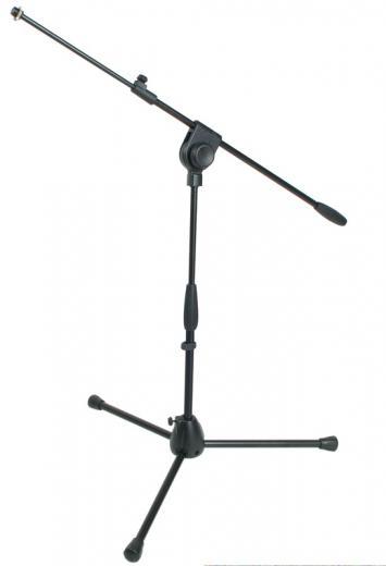 Soporte de micrófono profesional de media altura con brazo telescópico, base de aluminio en trípode