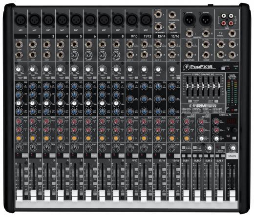 16 canales, efectos interno y E/S USB, 10 preamps de mic Mackie con bajo nivel de ruidos con un rango de ganancia de +50 dB