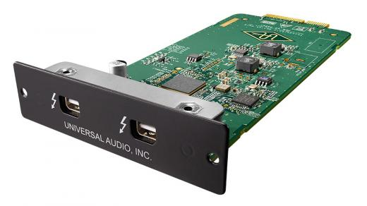 Tarjeta de expansion Thunderbolt para interfaces de grabación serie Apollo de Universal Audio.