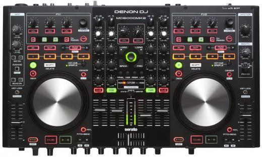 Controlador digital de DJ premium de 4 canales, 4 cubiertas y 8 fuentes, incluye Serato DJ Lite, diseño Slim Tabletop para portabilidad móvil de DJ