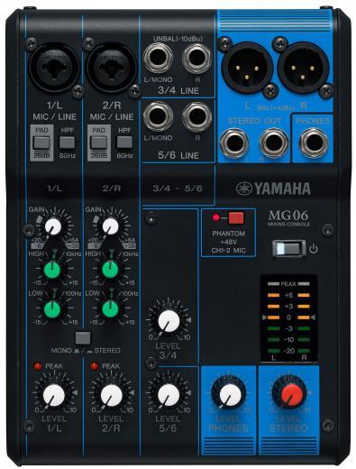 Mezclador analógico de 6 canales con 2 preamplificadores de micrófono, 2 canales de línea estéreo dedicados y ecualizador
