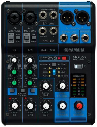 Mezclador analógico de 6 canales con 2 preamplificadores de micrófono, 4 canales de línea estéreo dedicados, ecualizador y efectos digitales