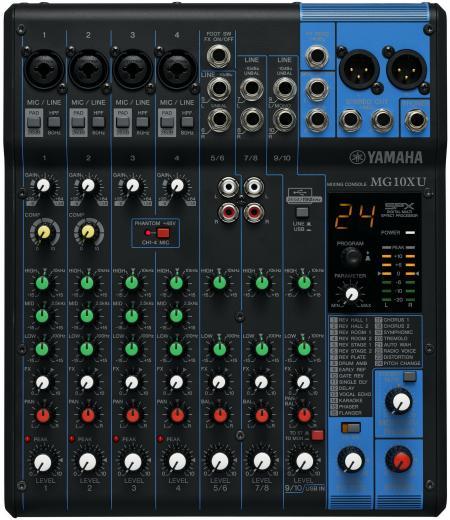 Mezclador analógico de 10 canales con 4 preamplificadores de micrófono, 3 canales de línea estéreo dedicados, 1 envío auxiliar, ecualizador, compresores de 1 botón y efectos digitales