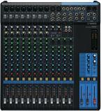 Mezclador analógico de 16 canales con 10 preamplificadores de micrófono, 4 canales de línea estéreo dedicados, 4 envíos auxiliares, ecualizador y compresores de 1 botón