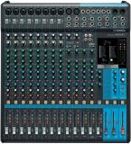 Mezclador analógico de 16 canales con 10 preamplificadores de micrófono, 4 canales de línea estéreo dedicados, 4 envíos auxiliares, ecualizador, compresores de 1 botón y efectos digitales