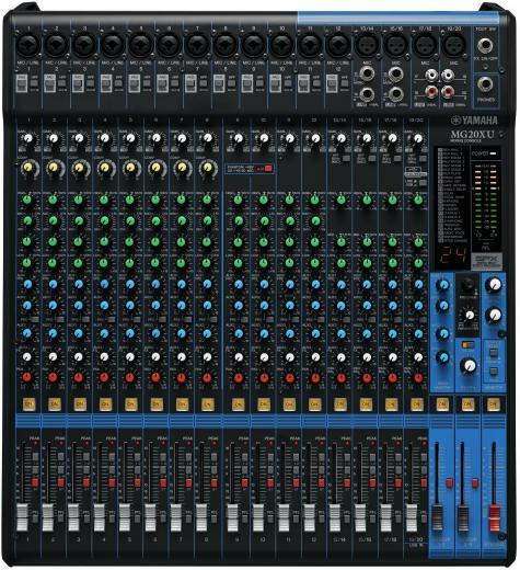 Mezclador analógico de 20 canales con 16 preamplificadores de micrófono, 4 canales de línea estéreo dedicados, 4 envíos auxiliares, ecualizador, compresores de 1 botón y efectos digitales