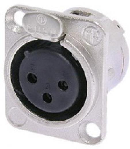 Conector XLR Chasis Hembra Cuadrado 3 pin