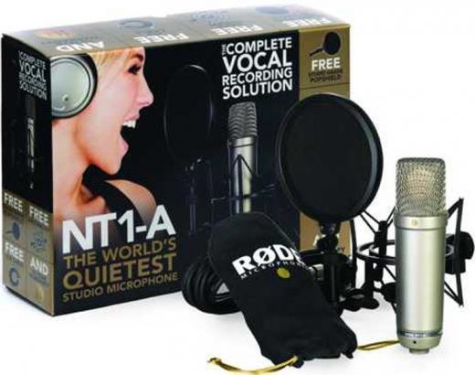 Micrófono de condensador cardioide de gran diafragma con shock-mount, protector anti-pop, cable XLR, cubierta antipolvo