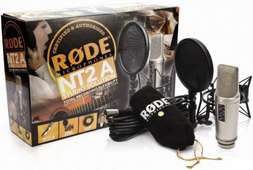 Micrófono de condensador de diafragma grande con soporte de choque, cable, cubierta antipolvo y DVD exclusivo de técnicas de grabación NT2-A con John Merchant
