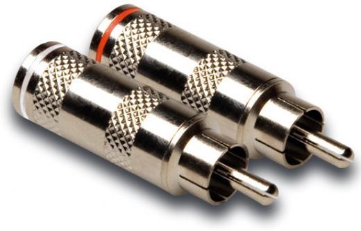 Diseñados para terminales de cables no balanceados para aplicaciones mono, codificadas con colores blanco y rojo para indicar audio izquierdo y derecho