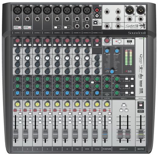 8 preamplificadores de micrófono, 2 buses auxiliares, ecualizadores británicos de 3 bandas, efectos léxicon, limitadores dbx, entradas hi-Z intercambiables, reproducción y grabación USB, Multitrack