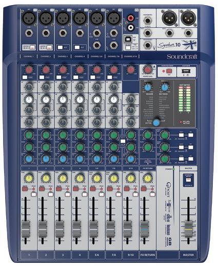 6 preamplificadores de micrófono, 2 buses auxiliares, ecualizadores británicos de 3 bandas, efectos léxicon, limitadores dbx, entradas intercambiables hi-Z, reproducción y grabación USB