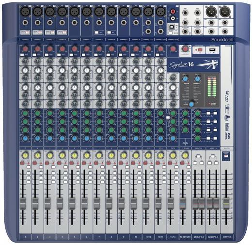 12 preamplificadores de micrófono, 3 buses auxiliares, ecualizadores británicos de 4 bandas, efectos léxicon, limitadores dbx, entradas hi-Z intercambiables, reproducción y grabación USB