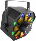 Swarm Wash FX es un efecto que combina un DERBY giratorio RGBAW LED 4-en-1, RGB + wash UV, láser rojo / verde, y un anillo de luces estroboscópicas